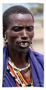 Maasai Man Portrait In Tanzania Bath Towel