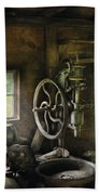 Machine Shop - An Old Drill Press Hand Towel