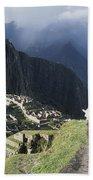 Machu Picchu And Llamas Bath Towel
