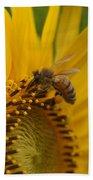 Macro Of Bee On Sunflower...   # Bath Towel