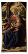 Madonna And Child Enthroned With Two Angels Bath Towel