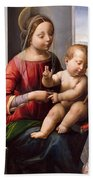 Madonna And Child With The Young Saint John The Baptist Bath Towel