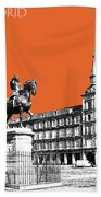 Madrid Skyline Plaza Mayor - Coral Bath Towel