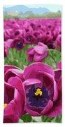 Magenta Tulips Bath Sheet