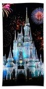 Magic Kingdom Castle In Frosty Light Blue With Fireworks 06 Bath Towel