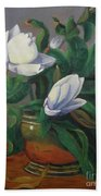 Magnolias On Brass Bath Towel