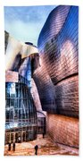 Main Entrance Of Guggenheim Bilbao Museum In The Basque Country Spain Bath Towel