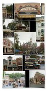 Main Street Disneyland Collage 02 Bath Towel