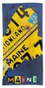 Maine License Plate Map Vintage Vacationland Motto Bath Towel