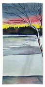 Maine Winter Sunset Bath Towel