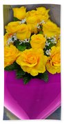 Majenta Heart Vase With Yellow Roses Bath Towel