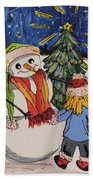 Make A Wish Snowman Bath Towel