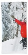 Male Skier Throws His Hands Bath Towel