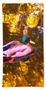 Mallard Duck On Pond 1 Bath Towel