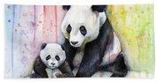 Panda Watercolor Mom And Baby Bath Towel