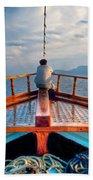 Man Day-deaming On Traditional Greek Ship Bath Towel