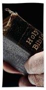 Man Hands Holding Old Bible Bath Towel
