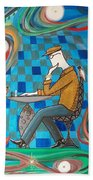 Man Sitting In Chair Contemplating Chess With A Bird Hand Towel