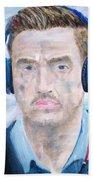 Man With Headphones Bath Towel