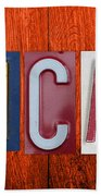 Mancave License Plate Letter Vintage Phrase Artwork On Burnt Orange Wood Bath Towel