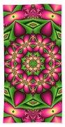 Mandala Green And Pink Bath Towel