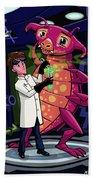 Manga Professor With Nice Pink Monster Experiment Bath Towel