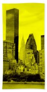 Manhattan Skyline In Yellow Bath Towel