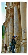 Many Photographers At Library Of Celsus-ephesus Bath Towel