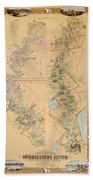 Map Depicting Plantations On The Mississippi River From Natchez To New Orleans Hand Towel