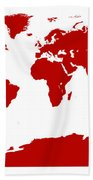 Map In Red Bath Towel