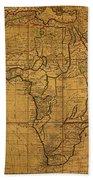 Map Of Africa Circa 1829 On Worn Canvas Bath Towel