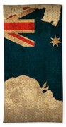 Map Of Australia With Flag Art On Distressed Worn Canvas Bath Towel
