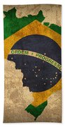 Map Of Brazil With Flag Art On Distressed Worn Canvas Hand Towel by Design Turnpike