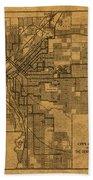 Map Of Denver Colorado City Street Railroad Schematic Cartography Circa 1903 On Worn Canvas Bath Towel