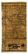 Map Of Denver Rio Grande Railroad System Including New Mexico Circa 1889 Bath Towel