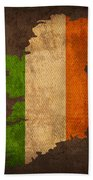 Map Of Ireland With Flag Art On Distressed Worn Canvas Bath Towel by Design Turnpike