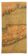 Map Of Long Island 1888 Bath Towel