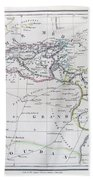 Map Of North Africa Or Barbary Hand Towel