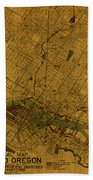 Map Of Portland Oregon City Street Schematic Cartography Circa 1924 On Worn Parchment  Bath Towel