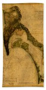 Map Of San Diego Bay California Circa 1857 On Worn Distressed Canvas Parchment Bath Towel