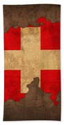 Map Of Switzerland With Flag Art On Distressed Worn Canvas Hand Towel