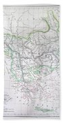 Map Of Turkey Or The Ottoman Empire In Europe Bath Towel