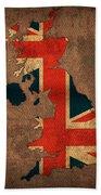 Map Of United Kingdom With Flag Art On Distressed Worn Canvas Bath Towel