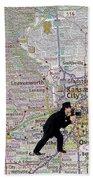 Map Overland Park Kansas Bath Towel