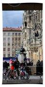 Mareinplatz And Glockenspiel Munich Germany Hand Towel