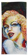 Marilyn Monroe Original Palette Knife Painting Bath Towel