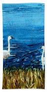 Marion Lake Swans Bath Towel