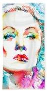 Marlene Dietrich - Colored Pens Portrait Bath Towel
