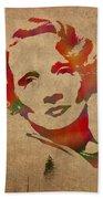 Marlene Dietrich Movie Star Watercolor Painting On Worn Canvas Bath Towel
