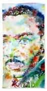 Martin Luther King Jr. - Watercolor Portrait Bath Towel